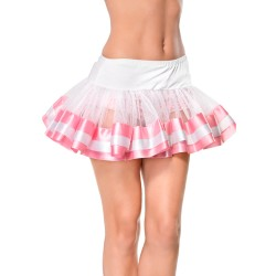 WHITE TULLE SKIRT WITH SATIN DETAILS PINK