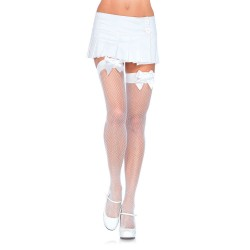 WHITE FISHNET THIGH HIGHS WITH WHITE BOWS