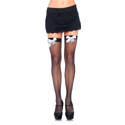 BLACK FISHNET THIGH HIGHS WITH WHITE BOWS