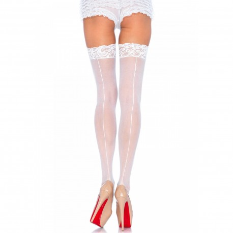WHITE THIGH HIGHS WITH LACE TOP AND BACKSEAM