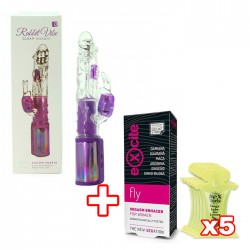 MAGIC RABBIT PACK CLEAR INSIGHT VIBRATOR PURPLE + ORGASM ENHACER + 5X KISSABLE LUBRICANT