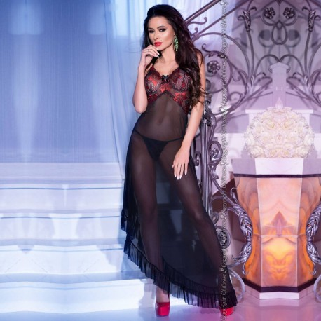 LONG GOWN AND THONG CR-4251 BLACK AND RED