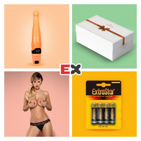 GIFT BOX WITH LEGGIERO VIBRATOR AND OFFER OF CHARMEA THONG L/XL + 4 X AA BATTERIES