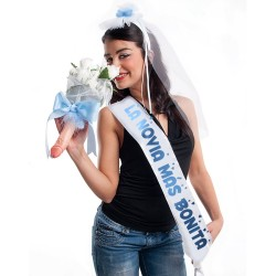 """PARTY BAND, VEIL AND BOUQUET """"THE MOST BEAUTIFUL BRIDE"""" IN SPANISH"""