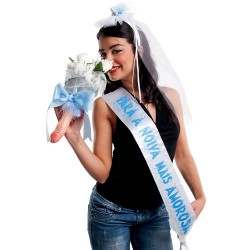 """PARTY BAND, VEIL AND BOUQUET """"THE SEXIEST BRIDE"""" IN PORTUGUESE"""