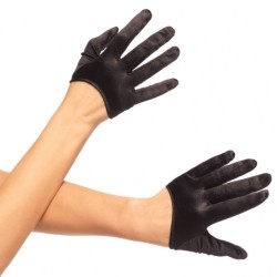 MINI CROPPED BLACK SATIN GLOVES